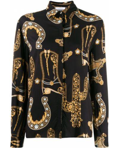 Черная классическая рубашка с воротником с манжетами Versace Collection