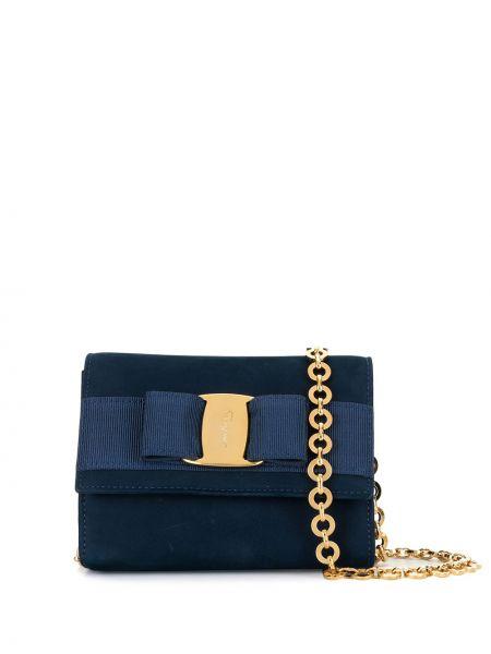 Синяя поясная сумка с помпоном металлическая с карманами Salvatore Ferragamo Pre-owned