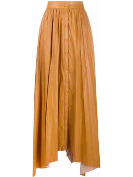 Żółty z wysokim stanem asymetryczny spódnica plisowana z wiskozy Isabel Marant