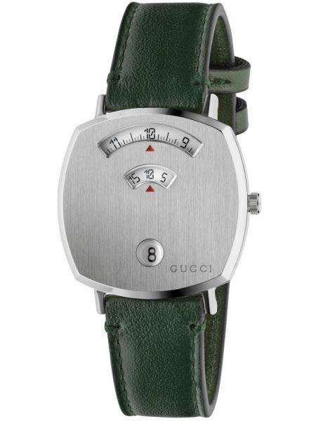 С ремешком кожаные серебряные часы на кожаном ремешке Gucci