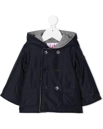 Синее пальто классическое с капюшоном двубортное Il Gufo