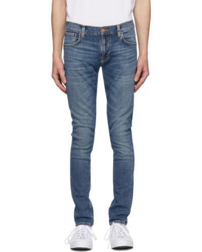 Кожаные черные джинсы стрейч Nudie Jeans