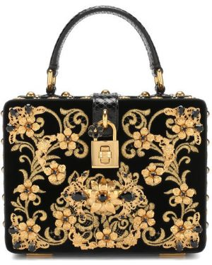 Кожаная сумка бархатная с вышивкой Dolce & Gabbana