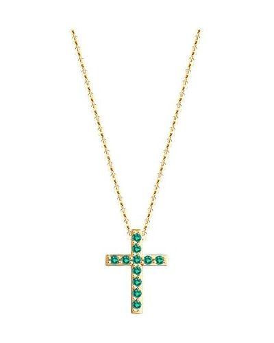 Золотистый крест золотой с изумрудом Sokolov