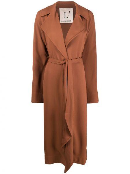 Коричневый длинное пальто с поясом с лацканами L'autre Chose