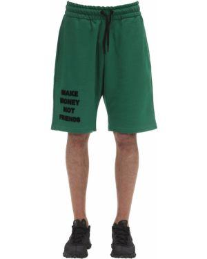Zielone krótkie szorty bawełniane Make Money Not Friends
