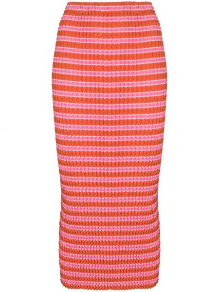 Оранжевая юбка миди с завышенной талией в полоску Issey Miyake