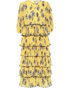 Платье миди с цветочным принтом желтый Ganni