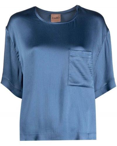 Синяя прямая футболка с вырезом Nude