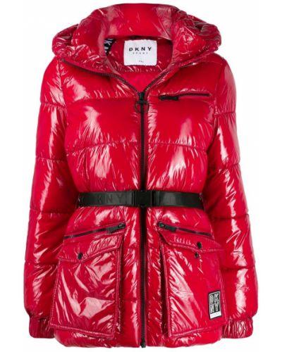 Прямая длинная куртка с поясом мятная Dkny