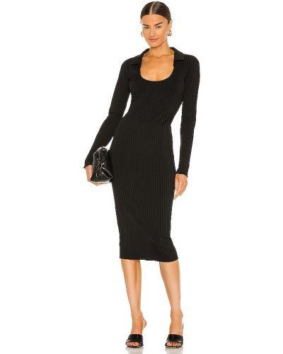 Трикотажное черное платье миди для полных L'academie