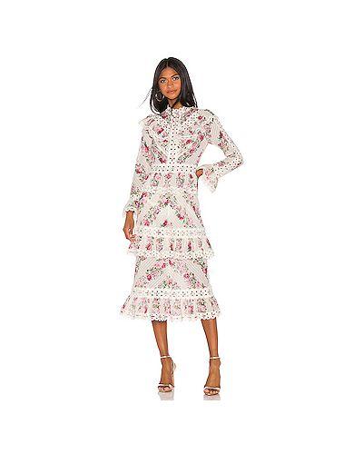 Платье миди ажурное с оборками Zimmermann