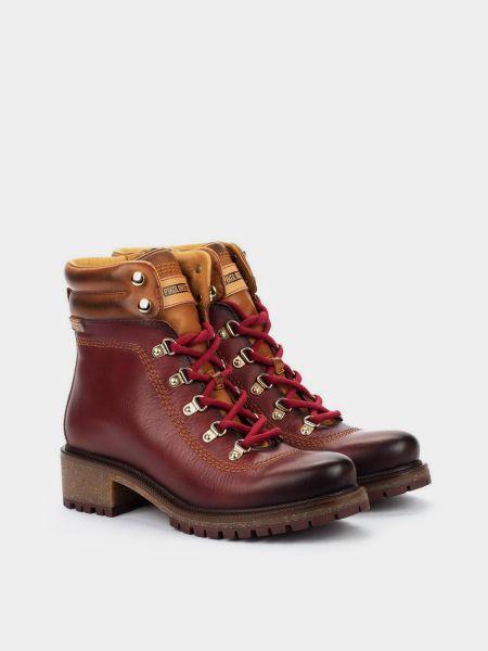 Кожаные ботинки - бордовые Pikolinos