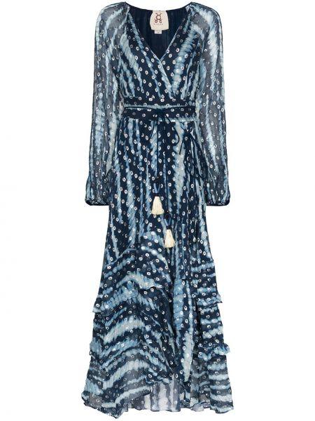 Платье макси с запахом на молнии с оборками металлическое Figue