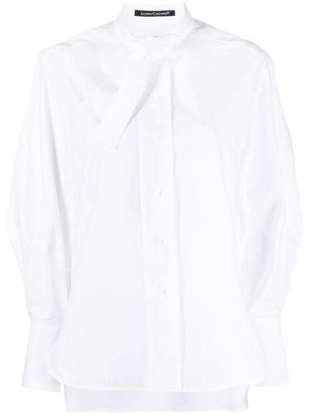 Хлопковая с рукавами белая рубашка Luisa Cerano