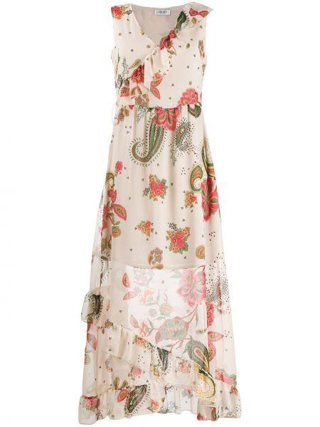 Бежевое платье без рукавов с вырезом Liu Jo