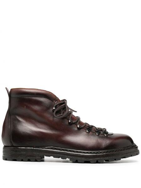 Brązowy koronkowa buty skórzane zasznurować okrągły nos Officine Creative