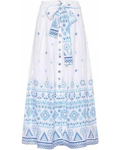 Синяя льняная юбка миди с жемчугом в рубчик Gül Hürgel