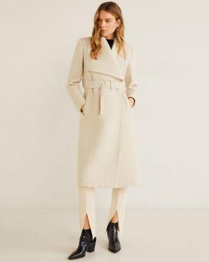Длинное пальто на кнопках шерстяное Mango