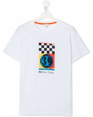 Хлопковая белая футболка с короткими рукавами с круглым вырезом Paul Smith Junior