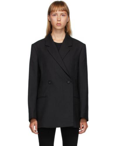 Черный удлиненный пиджак двубортный с подкладкой TotÊme