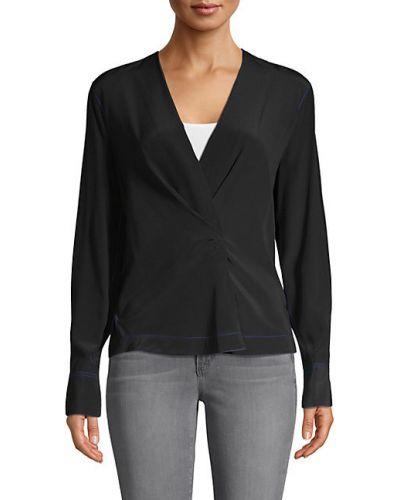 Czarna koszula z długimi rękawami kopertowa Rag & Bone
