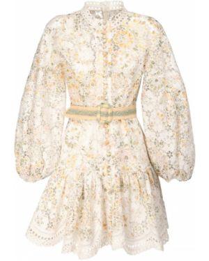 Платье мини с вышивкой на резинке с манжетами на кнопках Zimmermann