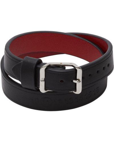 Кожаный черный браслет с тиснением с логотипом Maison Margiela
