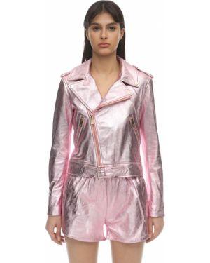Кожаный розовый пиджак с карманами на кнопках Coco Cloude