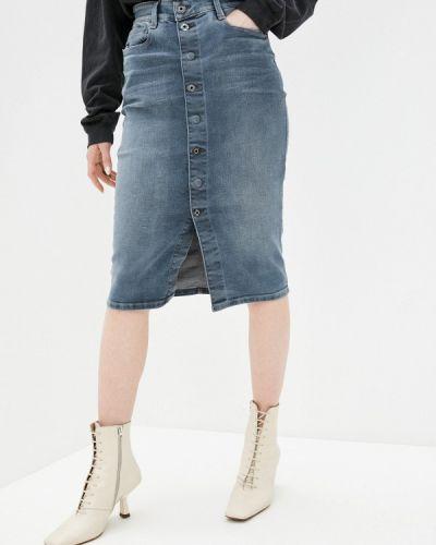 Синяя джинсовая юбка G-star