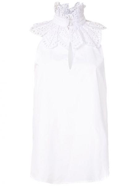 Белая блузка без рукавов с оборками с воротником свободного кроя Reinaldo Lourenço