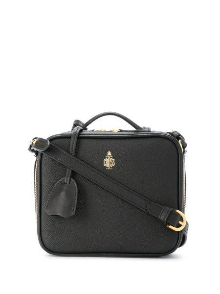 Золотистая хлопковая черная сумка через плечо на молнии Mark Cross