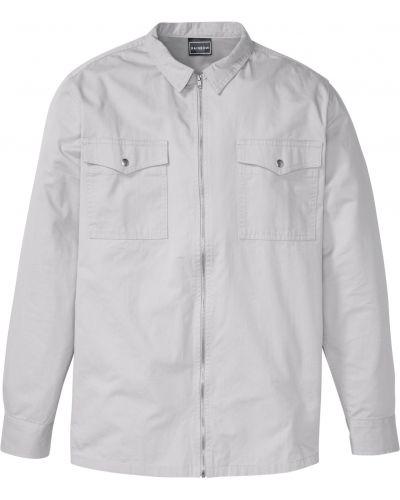 Рубашка на молнии - серая Bonprix
