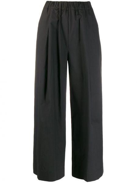 Spodnie z wysokim stanem czarne z kieszeniami Parosh