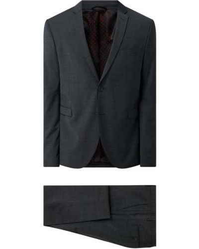 Czarny garnitur slim wełniany zapinane na guziki Cinque