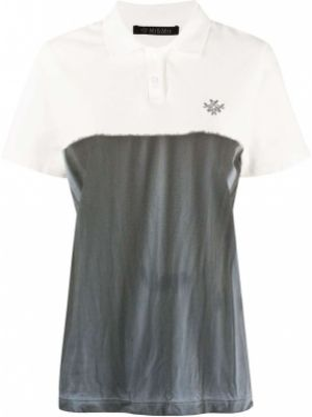 Хлопковый серый топ с вышивкой с воротником Mr & Mrs Italy