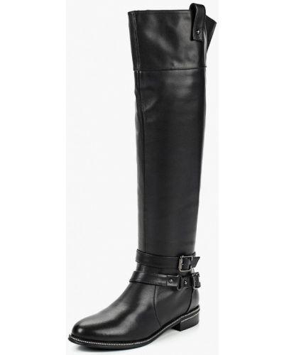Ботфорты на каблуке кожаные черные Vitacci