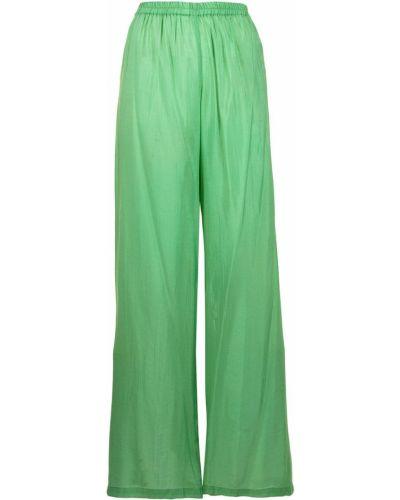 С завышенной талией хлопковые зеленые брюки Bambah