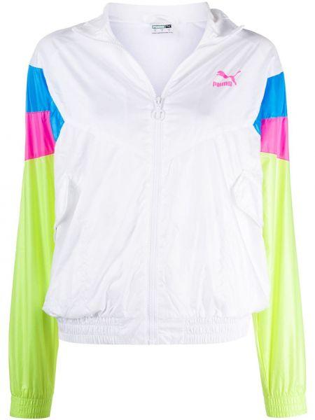 С рукавами белая спортивная куртка на молнии с воротником Puma