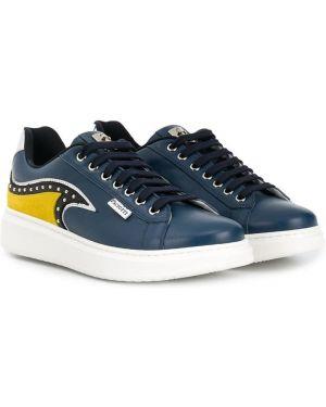 Синие кожаные кроссовки на шнуровке Cesare Paciotti Kids