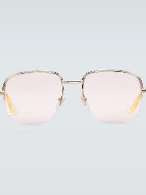 Złote okulary - fioletowe Gucci