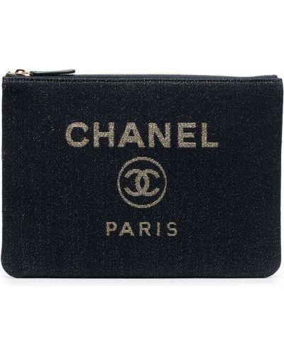 Złota beżowa kopertówka z printem Chanel Pre-owned