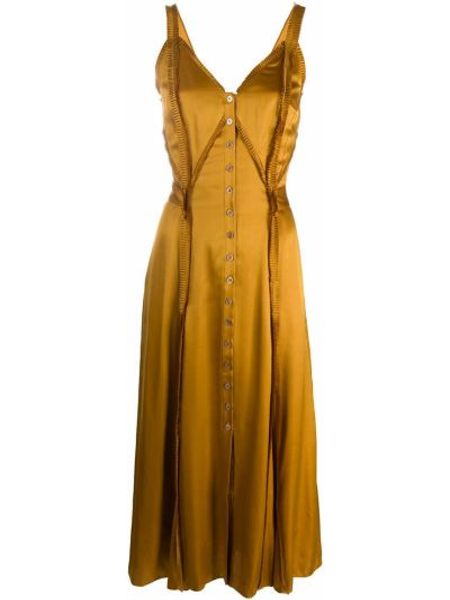 Желтое шелковое плиссированное платье на пуговицах Temperley London