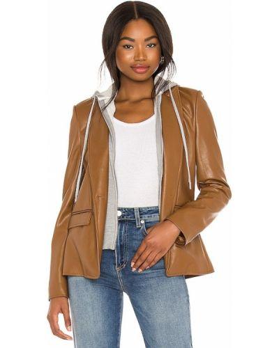Кожаный коричневый пиджак с капюшоном Central Park West