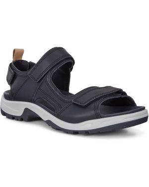 Синие кожаные спортивные сандалии на липучках с подкладкой Ecco