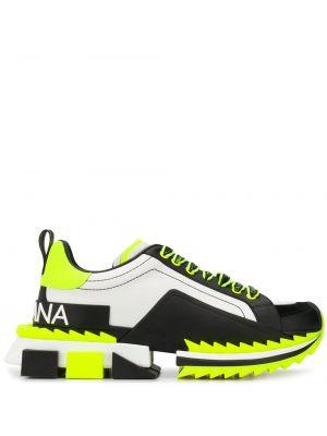 Wysoki sneakersy skórzane z logo Dolce And Gabbana