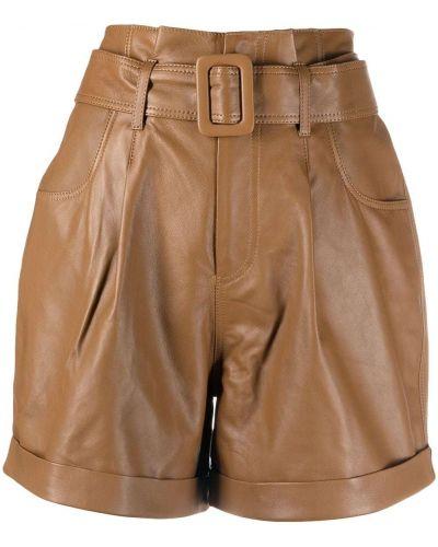 С завышенной талией кожаные шорты с отворотом Federica Tosi