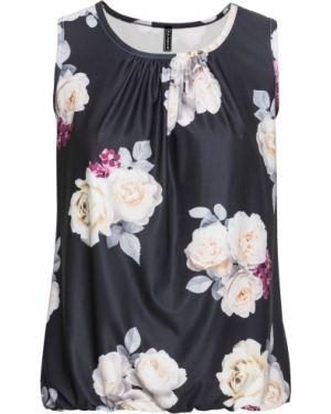 Блузка с коротким рукавом на резинке с цветочным принтом Bonprix