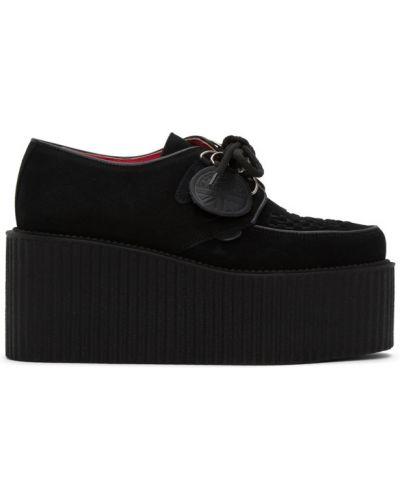 Ażurowy czarny pnącza buty zasznurować okrągły Molly Goddard