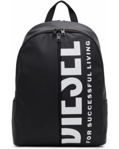 Текстильный черный рюкзак с карманами Diesel